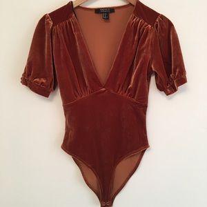 Forever 21 Deep V Velvet Bodysuit - Orange XS